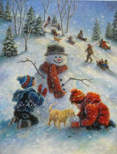 Perfect Snow Day Print, art, snow, children, paintings, snowman, snowmen, sledding, winter, Vickie Wade art. $26.00, via Etsy.