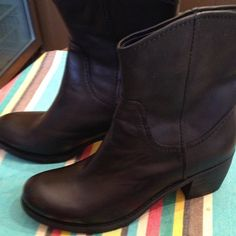 Black leather western boots booties Like new! Excellent condition. Worn once. Leather upper composite soles. Cute cowboy cowgirl look or biker look Nine West Shoes Ankle Boots & Booties