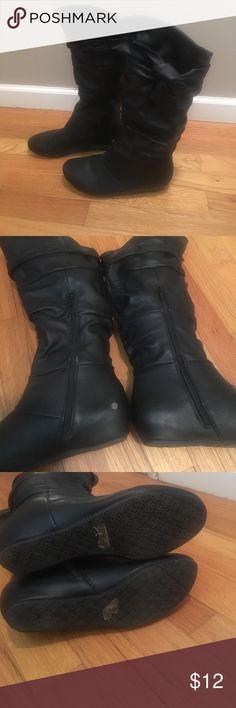 Black mid calf boots Amazing condition. One small scuff on inside of right heel, shown in picture. Bow on side for decoration Charlotte Russe Shoes Combat & Moto Boots