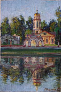 Www.agafonova33.livemaster.ru Закат - церковь храм, закат, пейзаж с водой, пейзаж недорого, живопись картины