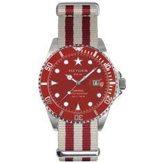 """Reloj Oxygen Colección Diver """"Shanghai"""" tamaño 40mm de color rojo y correa de rayas rojas y blancas. http://www.tutunca.es/reloj-oxygen-diver-shanghai-40-rojo-rayas"""