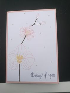 Stampin Up Climbing Orchid with Powder Pink paper and Pink Pirouette/so Saffron/Early Espresso ink colord MADE BY INEPIE