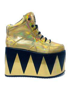 YRU Gold Disco Platform Shoes