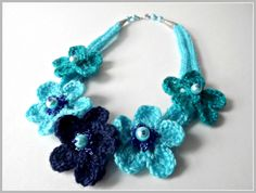 Crochet necklace, blue crochet necklace, crochet accessories, crochet flowers. crochet flower #necklace