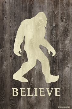 Pointless Posters Believe in Bigfoot Poster Print - Ebr Usam Bigfoot Birthday, Bigfoot Party, Bigfoot Pictures, Bigfoot Pics, Mountain Monsters, Pie Grande, Finding Bigfoot, Bigfoot Sasquatch, Yeti Bigfoot