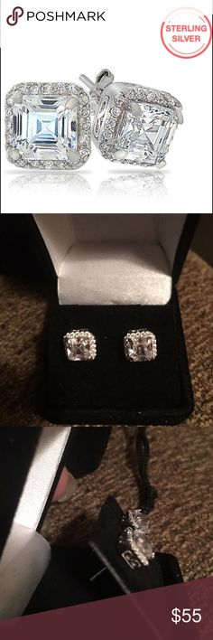 3 CARAT ASSCHER CUT STUDS NEW GORGEOUS 3 CTW HIGH QUALITY ASSCHER CUT STUDS SET IN SOLID STERLING SILVER WITH BUTTERFLY BACKS includes black velvet box Jewelry Earrings