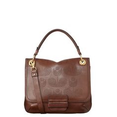 Orla Kiely: Leather bag with 'Punched Wallflower' detail and magnetic fastening to close. Includes detachable adjustable strap (max 44in) and large back pocket. Inside details include brown linear stem jacquard lining, small zip pocket, key chain and mobile pockets. $402.50    This product is made from high quality leather. This leather will develop a rich patina as it is polished and cherished. Due to the nature and color of this leather please take care whe…