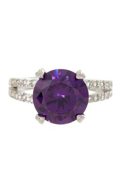 Sterling Silver Amethyst Round Solitaire CZ Ring