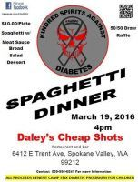 Spokane, WA - Mar. 19, 2016: 2nd Annual Spaghetti Feed to benefit Camp Stix Diabetes Programs. Camp Stix is a one week diabetes camp that provides full medical care and diabetic supplies to the campers.