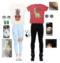 """Let's be weird together"" by evewalts16 ❤ liked on Polyvore featuring Monki, Forever 21, Summer, menswear and women"