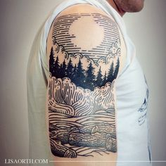 engraving-style tattoo of trees, woods -- lisaorth's photo on Instagram