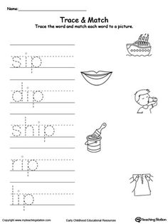 **FREE**IP Word Family Trace and Match. Practice writing short words and identify their sound by matching the word with the picture. This activity will improve your child writing skills and increase their vocabulary words. Rhyming Words, Vocabulary Words, Tracing Worksheets, Preschool Worksheets, Kindergarten Activities, Family Worksheet, Writing Practice, Writing Skills, Short Words
