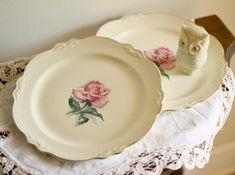 Vintage pink rose plates by Homer Laughlin