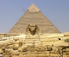 Giza Plateau - Great Sphinx with Pyramid of Khafre in background