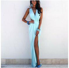 vestido estilo griego escote alto  en pierna, varios colores