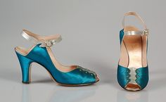 Evening shoes Manufacturer: Delman (American, founded 1919) Department Store: Bergdorf Goodman (American, founded 1899) Date: ca. 1945 Culture: American Medium: Silk, leather Credit Line: Brooklyn Museum Costume Collection at The Metropolitan Museum of Art, Gift of the Brooklyn Museum, 2009; Gift of Diana S. Field, 1964 Accession Number: 2009.300.5334a, b