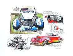 Ken Dallison 1937 Cord 812 Phaeton Classic Car Poster Art Print ACD Club AACA