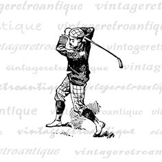 Antiue Golfer Digital Image Download by VintageRetroAntique