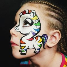 "27 Likes, 4 Comments - Swish Face & Body Art (@miss.tamz) on Instagram: ""Giddy Up! #Rainbowzebra #facepainting #facepaint #eyedesigns #rainbow #zebra #cutiepie #swishme…"""