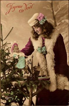 Antique Post Card Real Photo Christmas Greetings Lady with Bisque Head Doll circa 1908 on Ruby Lane $40