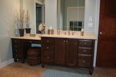 I want this!... built in make up vanity instead of 2 sinks!