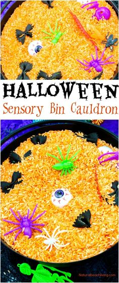 Easy Halloween Sensory Bin, Halloween Sensory Bin Preschool Ideas, Halloween Sensory Play, Witch and Bat ideas for Halloween halloween educational Theme Halloween, Halloween Week, Halloween Crafts For Kids, Halloween Halloween, Preschool Halloween, Halloween Games For Preschoolers, Halloween Projects, Kids Crafts, Holiday Crafts