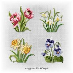 """Kircicekleri """"Discover thousands of images about Set \""""Spring Studies\"""" motifs)"""", """"This post was discovered by Neş"""" Mini Cross Stitch, Cross Stitch Cards, Cross Stitch Rose, Cross Stitch Flowers, Cross Stitch Kits, Cross Stitch Designs, Cross Stitching, Cross Stitch Embroidery, Cross Stitch Patterns"""