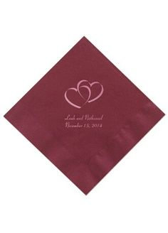 Personalized luncheon & beverage napkins - color of choice: apple (avail @ David's Bridal) ♥