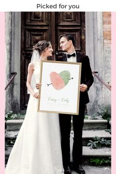 Picked just for you! This wedding decoration is custom made using your fingerprints. Your wedding guests will be amazed at the unique style and thoughtful touch. This wedding decor sign can also be used as a wedding guest book alternative, and will still be a wonderful addition to your wedding decorations! Pin this for later so you don't forget! #weddingdecorations #weddingdecor #weddingsign #uniquewedding #wedding