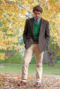 Green blue tie love    brown blazer beige pants