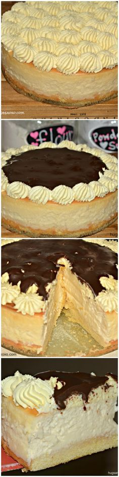 Boston Cream Pie Cheesecake - Hugs and Cookies XOXO - Dessert Recipes No Bake Desserts, Just Desserts, Delicious Desserts, Dessert Recipes, Yummy Food, Lemon Desserts, Best Cheesecake, Cheesecake Recipes, Juniors Cheesecake