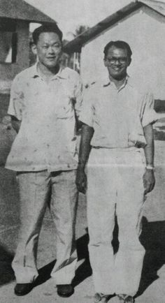 [The Battle For Merger] #History: Mr Lee Kuan Yew with James Puthucheary on the grounds of Changi Prison in February 1959.  Mr Lee used to pay frequent vists to the detainees closely associated with the PAP leadership.