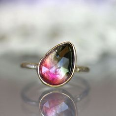 Rose Cut Watermelon Tourmaline Ring