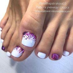 Toe Nails White, Gel Toe Nails, Acrylic Toe Nails, Purple Toe Nails, Pretty Toe Nails, Toe Nail Color, Cute Toe Nails, Summer Toe Nails, Feet Nails
