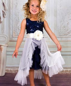 Mia Belle Baby White & Navy Sequin Princess Dress - Toddler | zulily