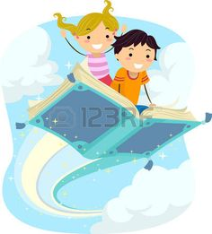 kids drawing: Stickman Illustration of Kids Riding a Magical Flying Book Stock Photo