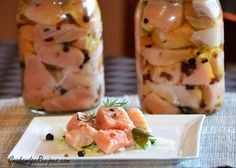 Easy Pickled Salmon Recipe (paleo/primal since sugar is only in the marinade; i would still tweak the percentage of it, and/or substitute palm sugar or honey. make sure you stick to non-virgin olive oil for this)