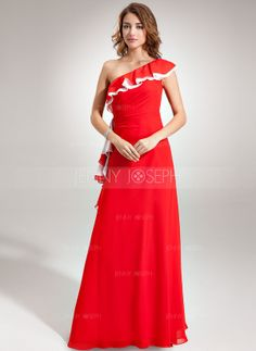 Corte A/Princesa Un sólo hombro Vestido Gasa Dama de honor con Volantes (008005664)