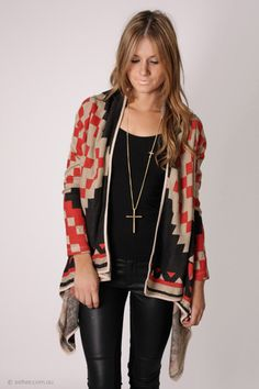 Aztec cardigan and leather pants