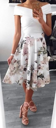 #Summer #Outfits / White Off the Shoulder Top + Floral Print Long Skirt