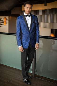 The Cobalt Blue Aries Paisley Tuxedo offers a fashion-forward approach for your next formal event. The Aries features a black satin shawl lapel, double besom. Casual Wedding Outfit Mens, Men Casual, Wedding Outfits, Wedding Dresses, Build A Tux, Wedding Tux, Glitter Wedding, Wedding Ideas, Prom Ideas