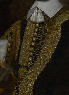"""In characteristic fashion, van der Helst devoted extensive attention to the raised ornament of this somber soldier's costume, brilliantly depicting the gold and silver brocade and scattering reflection throughout the whole picture.""""Portrait of a Young Man in Military Costume,"""" 1650, Bartholomeus van der Helst (Dutch, 1613 - 1670). Oil on canvas."""
