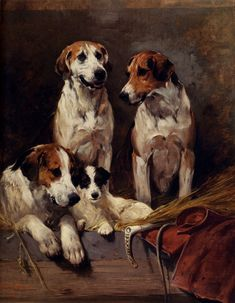 """Three Hounds with a Terrier"" -- by John Emms (1841 -- 1912)"