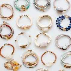 Gemstone bracelets with rope, leather and brass
