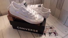 Personalised White Leather Effect Canvas Shoes Custom Twinkle Toes Diamanté Rhinestone Satin Laces Custom Trainers sneakers runners pumps Personalised Converse, Custom Canvas, Converse Shoes, Front Row, Creative Design, Sneakers, Louis Vuitton, Satin, Pumps