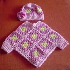 I can knit, must learn to crochet Infant Granny-Square Poncho w/ added cuffs and matching cap. (Link to pattern tutorial for a similar poncho)What a great idea! Crochet granny square poncho with sleeves for baby or toddler.I love the little cuffs on Crochet Poncho With Sleeves, Crochet Baby Poncho, Crochet Girls, Crochet Baby Clothes, Crochet Granny, Crochet For Kids, Crochet Shawl, Easy Crochet, Baby Knitting
