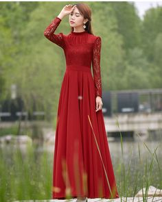 Charming Long Lace Sleeves Pleated Chiffon Long Red Maxi Dress - O Yours Fashion - 2