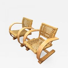 Adrien Audoux & Frida Minet - Auxoux-Minet for Vibo Pair of Blond Bentwood and Rope Chairs in Good Condition offered by Galerie Andre Hayat on InCollect