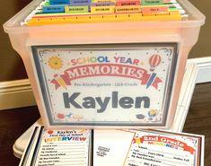 Birthday Interview Questions, School Interview, School Memories, Memories Box, Memory Journal, First Day Of School, 1st Day Of School Pictures, Memory Books, Keepsake Boxes