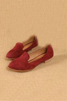 Solid Color Suede Vintage Flats